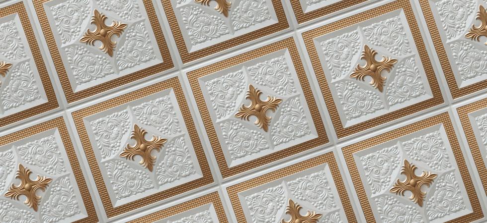 N125 - Pearl White - Gold-Nova-decorative-ceiling-tiles-antique-decor